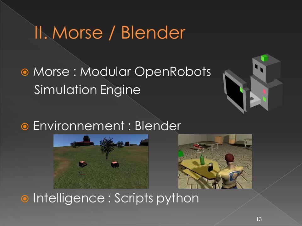 Morse : Modular OpenRobots Simulation Engine Environnement : Blender Intelligence : Scripts python 13