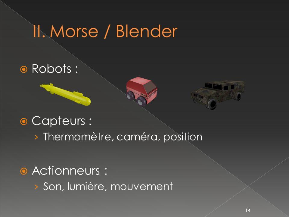 Robots : Capteurs : Thermomètre, caméra, position Actionneurs : Son, lumière, mouvement 14