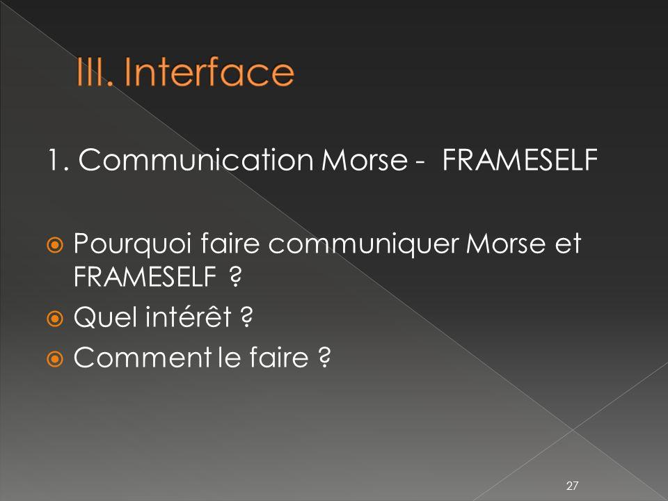 1.Communication Morse - FRAMESELF Pourquoi faire communiquer Morse et FRAMESELF .
