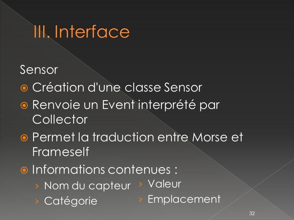 Sensor Création d une classe Sensor Renvoie un Event interprété par Collector Permet la traduction entre Morse et Frameself Informations contenues : Nom du capteur Catégorie 32 Valeur Emplacement