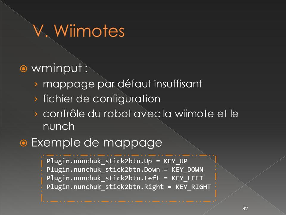 wminput : mappage par défaut insuffisant fichier de configuration contrôle du robot avec la wiimote et le nunch Exemple de mappage 42 Plugin.nunchuk_stick2btn.Up = KEY_UP Plugin.nunchuk_stick2btn.Down = KEY_DOWN Plugin.nunchuk_stick2btn.Left = KEY_LEFT Plugin.nunchuk_stick2btn.Right = KEY_RIGHT