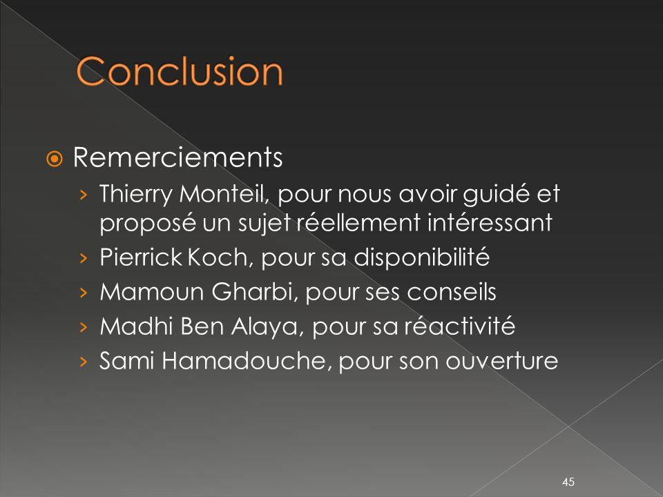 Remerciements Thierry Monteil, pour nous avoir guidé et proposé un sujet réellement intéressant Pierrick Koch, pour sa disponibilité Mamoun Gharbi, pour ses conseils Madhi Ben Alaya, pour sa réactivité Sami Hamadouche, pour son ouverture 45