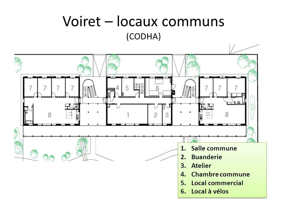 Voiret – locaux communs (CODHA) 1.Salle commune 2.Buanderie 3.Atelier 4.Chambre commune 5.Local commercial 6.Local à vélos 1.Salle commune 2.Buanderie