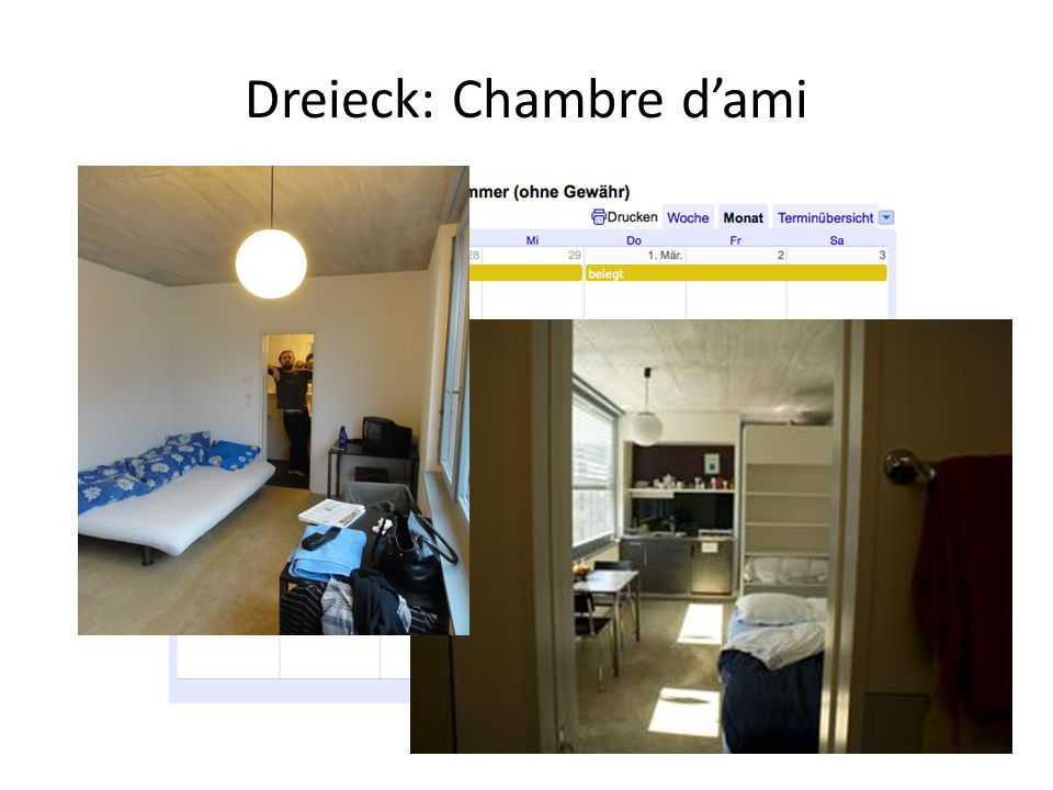 Dreieck: Chambre dami 35-40 frs / nuit 200-240 frs / semaine 35-40 frs / nuit 200-240 frs / semaine
