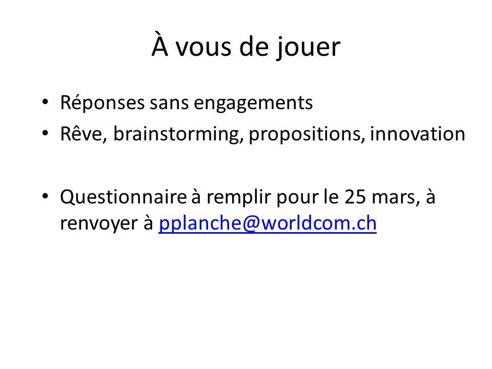 À vous de jouer Réponses sans engagements Rêve, brainstorming, propositions, innovation Questionnaire à remplir pour le 25 mars, à renvoyer à pplanche