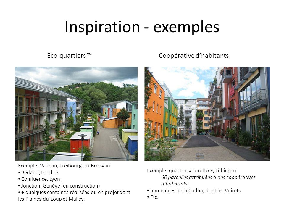 Inspiration - exemples Eco-quartiers Coopérative dhabitants Exemple: Vauban, Freibourg-im-Breisgau BedZED, Londres Confluence, Lyon Jonction, Genève (