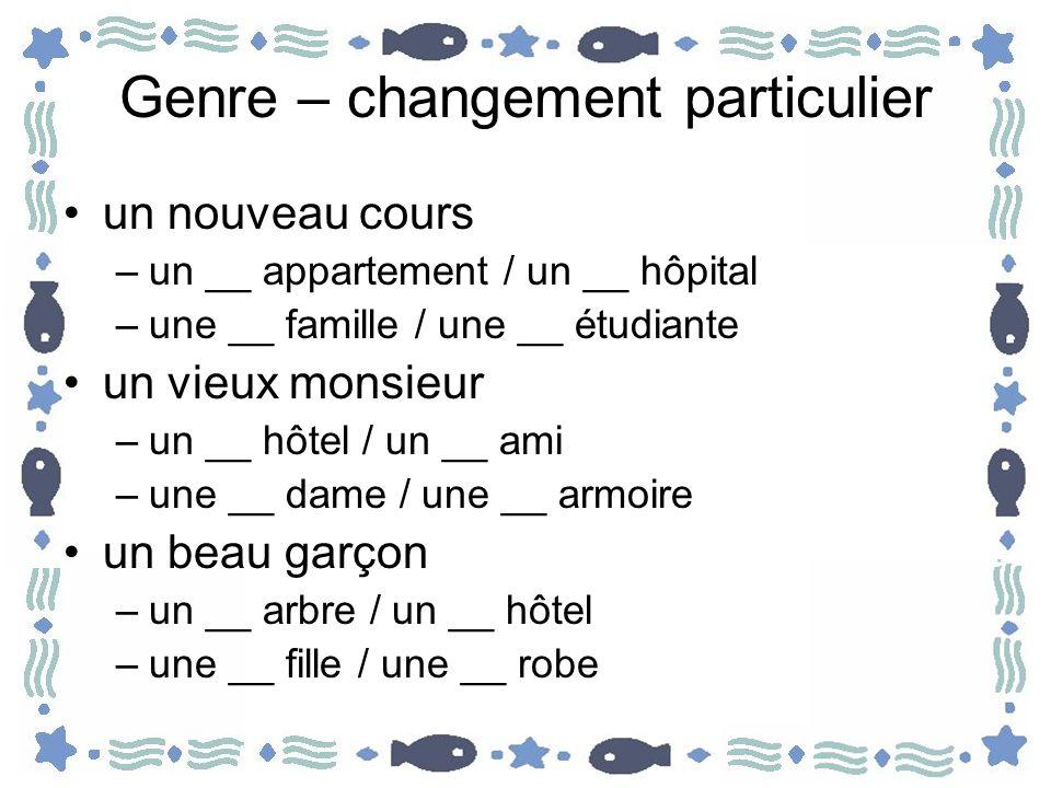 Genre – changement particulier un nouveau cours –un __ appartement / un __ hôpital –une __ famille / une __ étudiante un vieux monsieur –un __ hôtel /