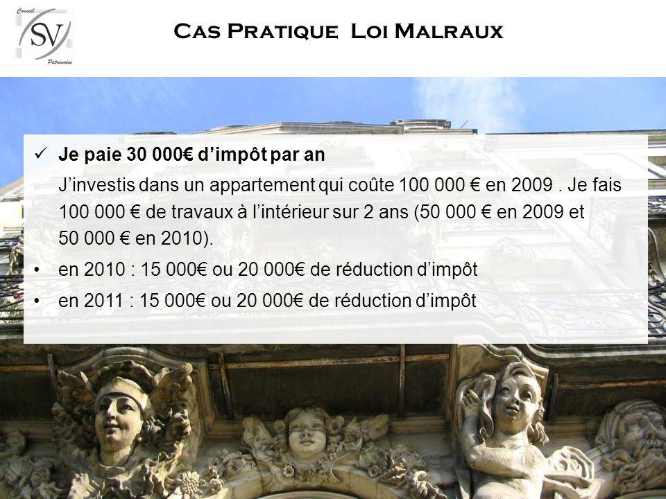 Bilan Loi Malraux Produit adapté aux grosses fiscalités Produit de standing Souvent situé en cœur de ville Fiscalité intéressante tout de suite Possibilité de lisser la réduction sur quatre ans.