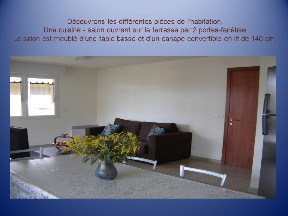 Découvrons les différentes pièces de lhabitation, Une cuisine - salon ouvrant sur la terrasse par 2 portes-fenêtres Le salon est meublé dune table basse et dun canapé convertible en lit de 140 cm.