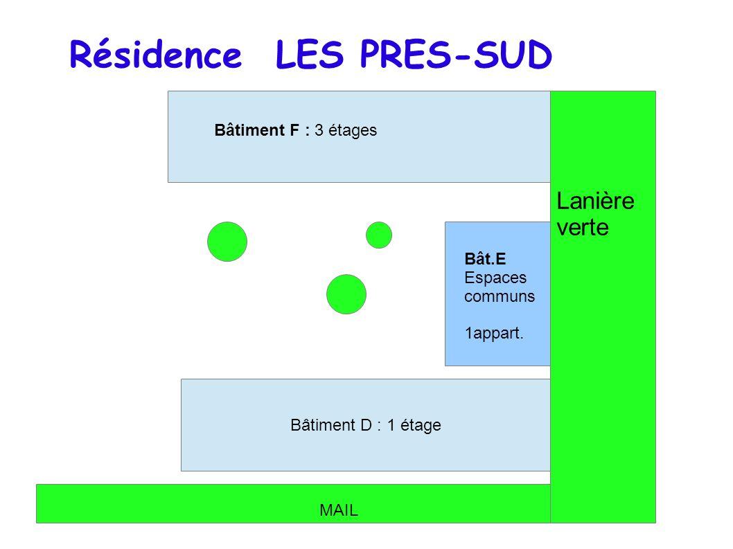 Bâtiment F : 3 étages Bât.E Espaces communs 1appart. Batiment D : 1 étage Bâtiment D : 1 étage Résidence LES PRES-SUD MAIL Lanière verte