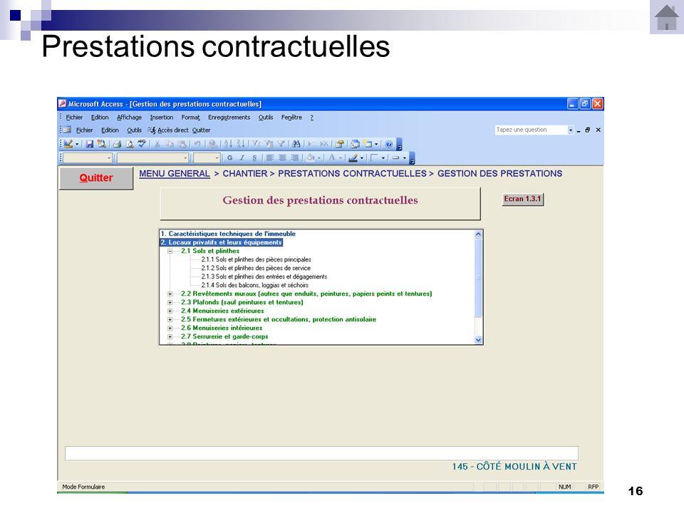 16 Prestations contractuelles