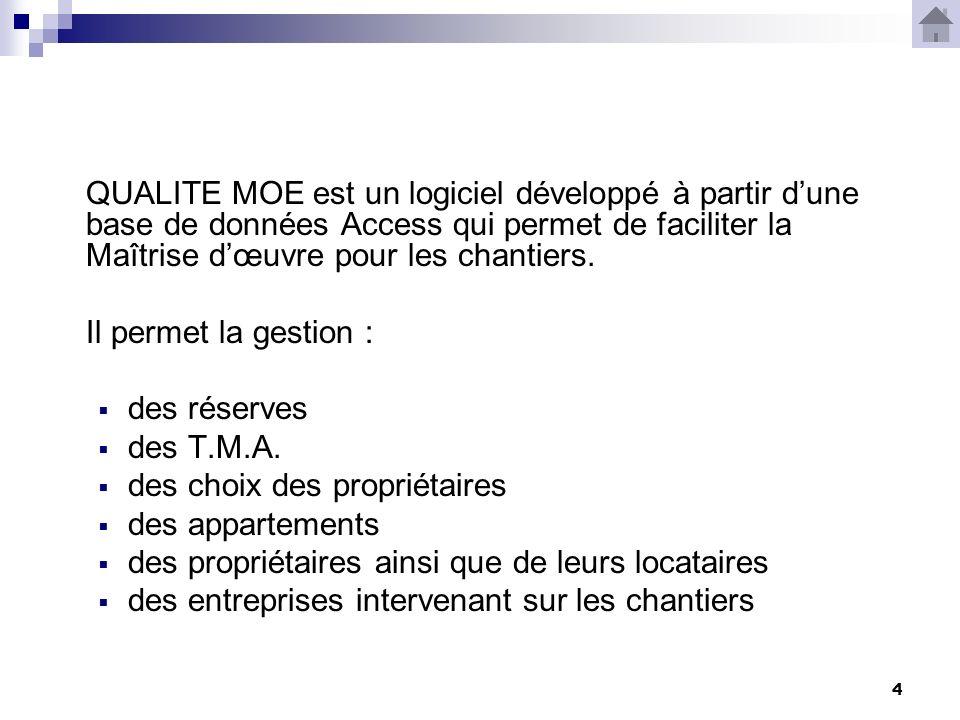 4 QUALITE MOE est un logiciel développé à partir dune base de données Access qui permet de faciliter la Maîtrise dœuvre pour les chantiers.