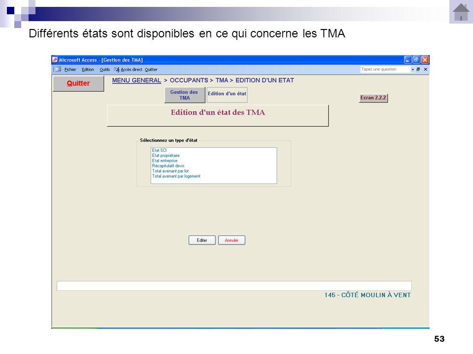53 Différents états sont disponibles en ce qui concerne les TMA