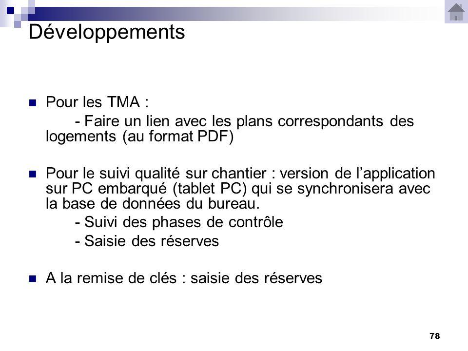 78 Développements Pour les TMA : - Faire un lien avec les plans correspondants des logements (au format PDF) Pour le suivi qualité sur chantier : version de lapplication sur PC embarqué (tablet PC) qui se synchronisera avec la base de données du bureau.