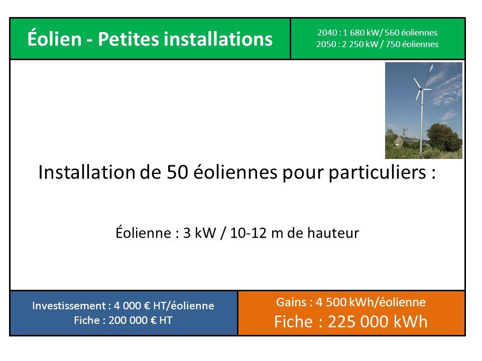 Éolien - Petites installations Installation de 50 éoliennes pour particuliers : Éolienne : 3 kW / 10-12 m de hauteur Investissement : 4 000 HT/éolienn
