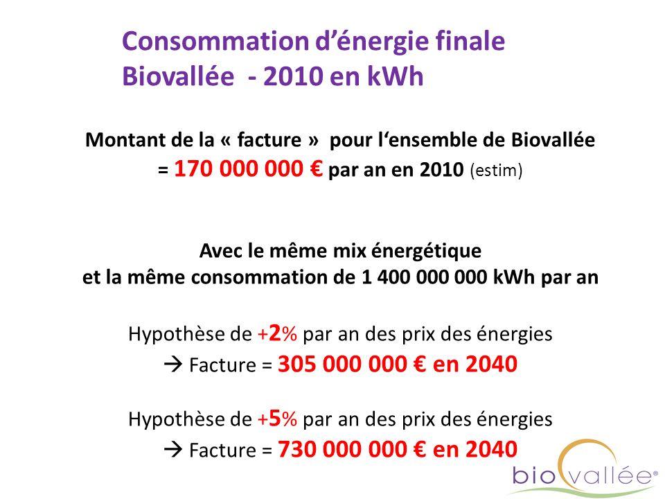 Consommation dénergie finale Biovallée - 2010 en kWh Montant de la « facture » pour lensemble de Biovallée = 170 000 000 par an en 2010 (estim) Avec l