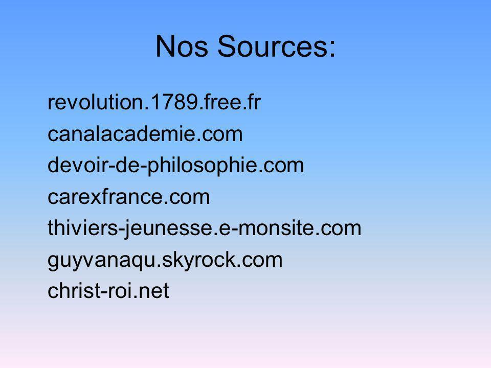 Nos Sources: revolution.1789.free.fr canalacademie.com devoir-de-philosophie.com carexfrance.com thiviers-jeunesse.e-monsite.com guyvanaqu.skyrock.com