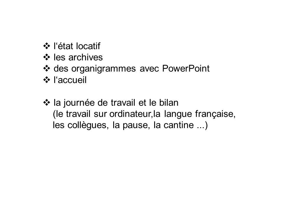 létat locatif les archives des organigrammes avec PowerPoint laccueil la journée de travail et le bilan (le travail sur ordinateur,la langue française, les collègues, la pause, la cantine...)