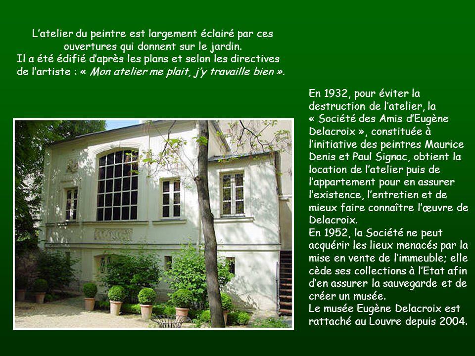 En 1932, pour éviter la destruction de latelier, la « Société des Amis dEugène Delacroix », constituée à linitiative des peintres Maurice Denis et Paul Signac, obtient la location de latelier puis de lappartement pour en assurer lexistence, lentretien et de mieux faire connaître lœuvre de Delacroix.