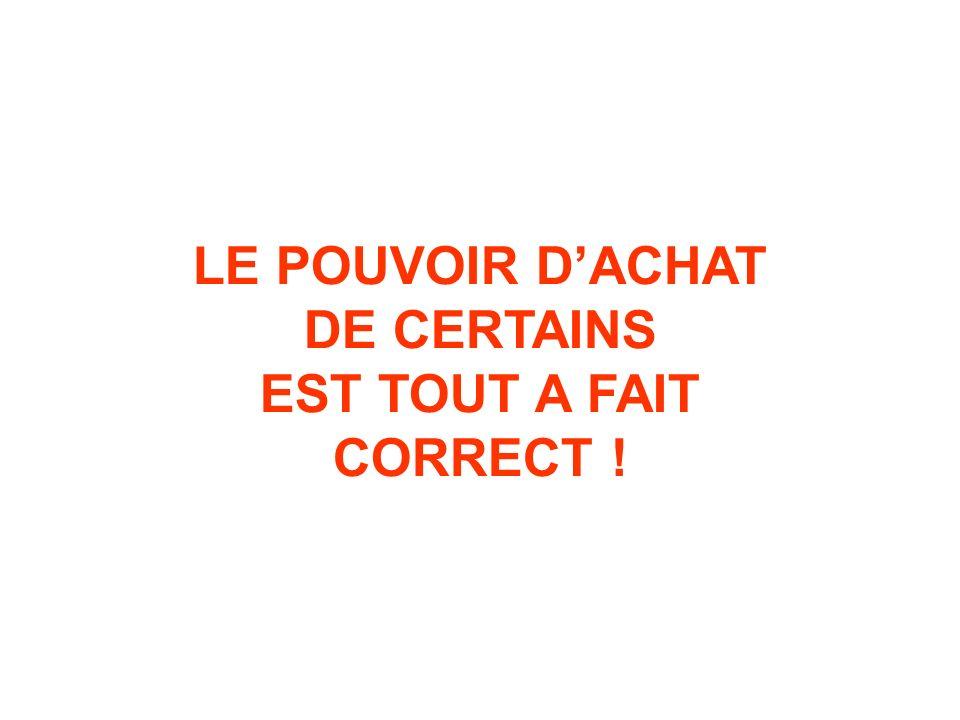 LE POUVOIR DACHAT DE CERTAINS EST TOUT A FAIT CORRECT !