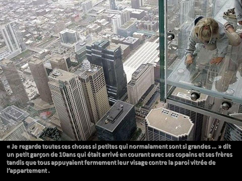 Les visiteurs ont ainsi une vue sans limites de Chicago depuis le côté l ouest de la tour et une vue à couper le souffle de la rue et du fleuve Chicago pour ceux qui osent regarder sous leurs pieds ….