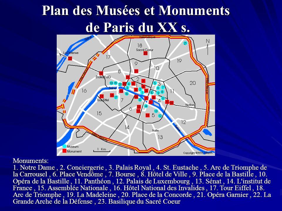 Plan des Musées et Monuments de Paris du XX s. Monuments: 1. Notre Dame, 2. Conciergerie, 3. Palais Royal, 4. St. Eustache, 5. Arc de Triomphe de la C