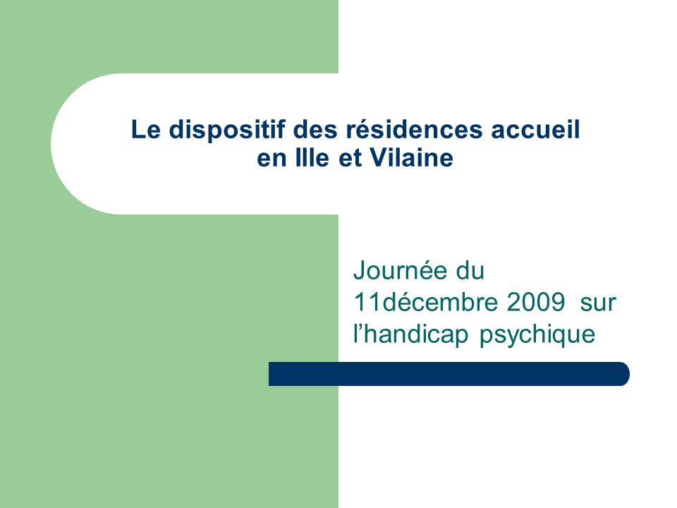 Le dispositif des résidences accueil en Ille et Vilaine Journée du 11décembre 2009 sur lhandicap psychique
