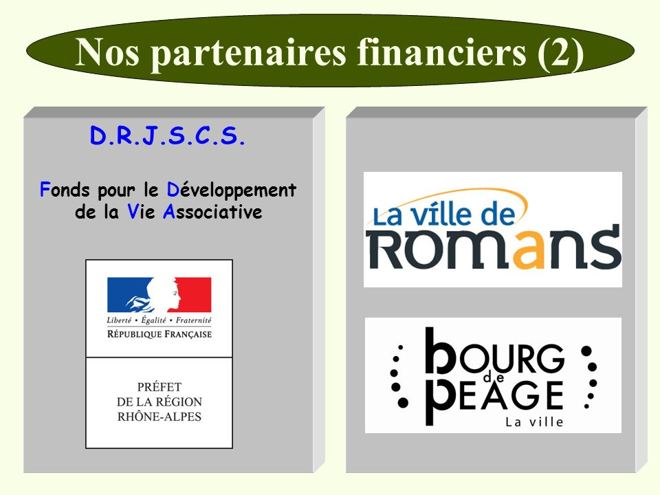 Nos partenaires financiers (2) D.R.J.S.C.S. Fonds pour le Développement de la Vie Associative