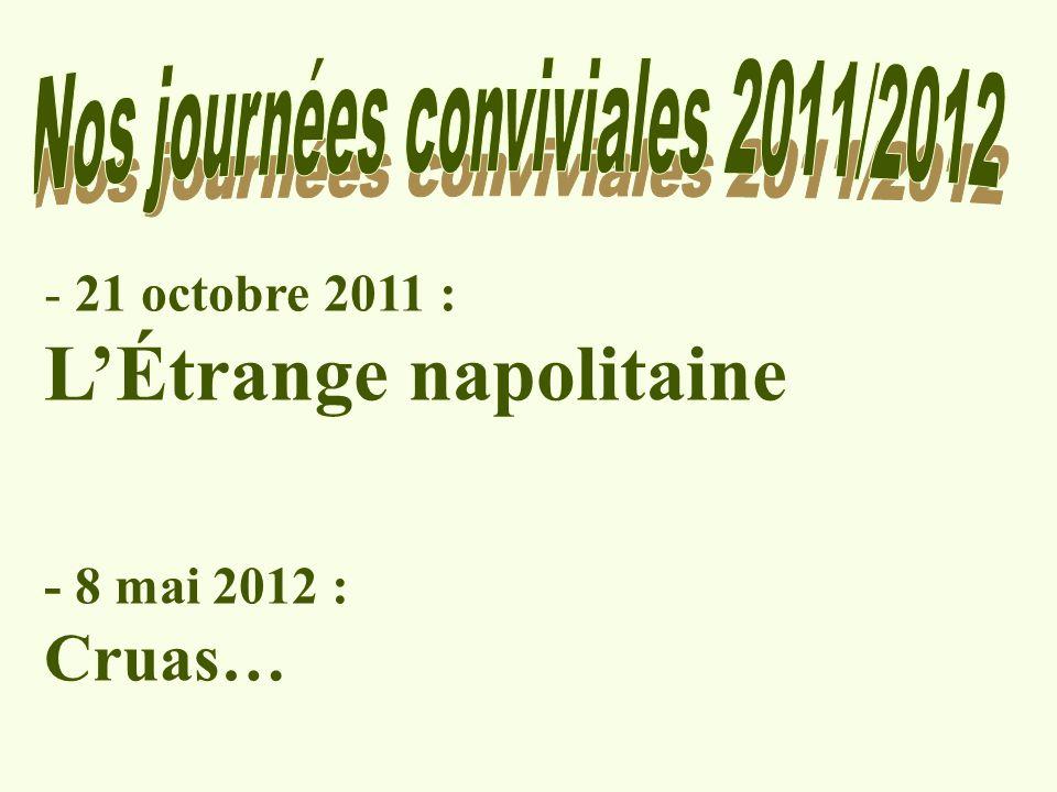 Vendredi 21 octobre 2011 Introduction à une série de modules de la saison 2011/2012 préparant la sortie culturelle à NAPLES.