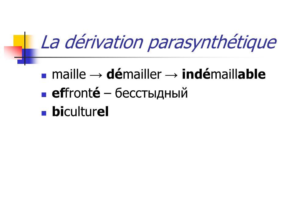 La dérivation parasynthétique maille démailler indémaillable effronté – бесстыдный biculturel