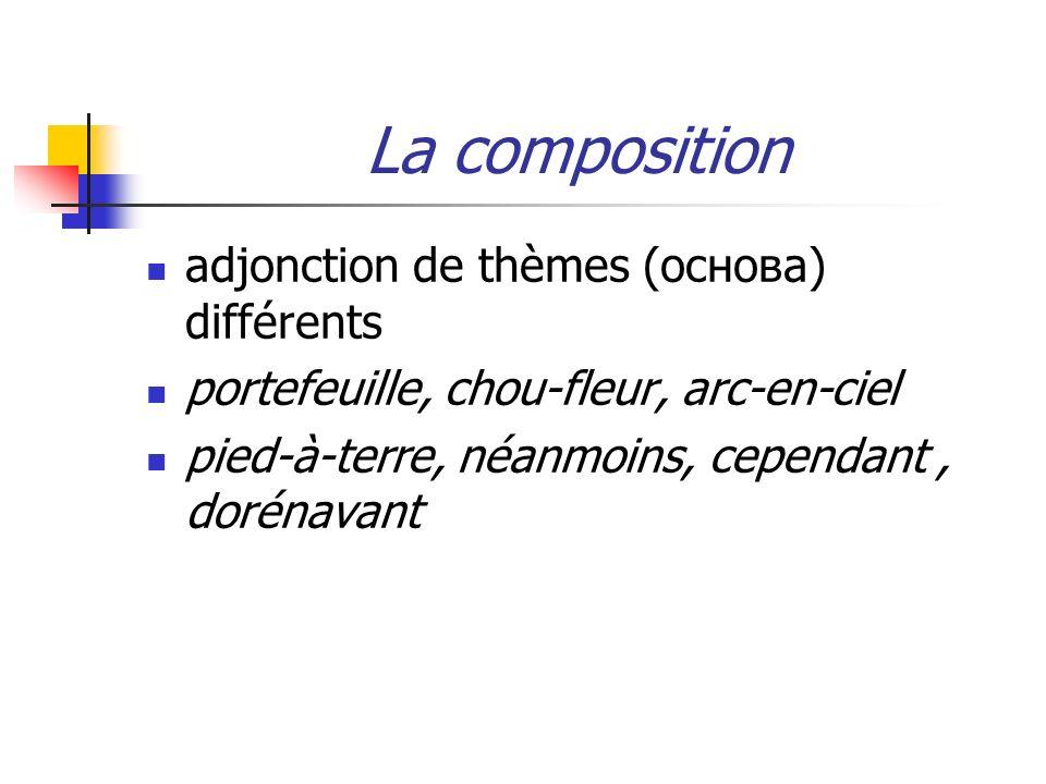 La composition adjonction de thèmes (основа) différents portefeuille, chou-fleur, arc-en-ciel pied-à-terre, néanmoins, cependant, dorénavant