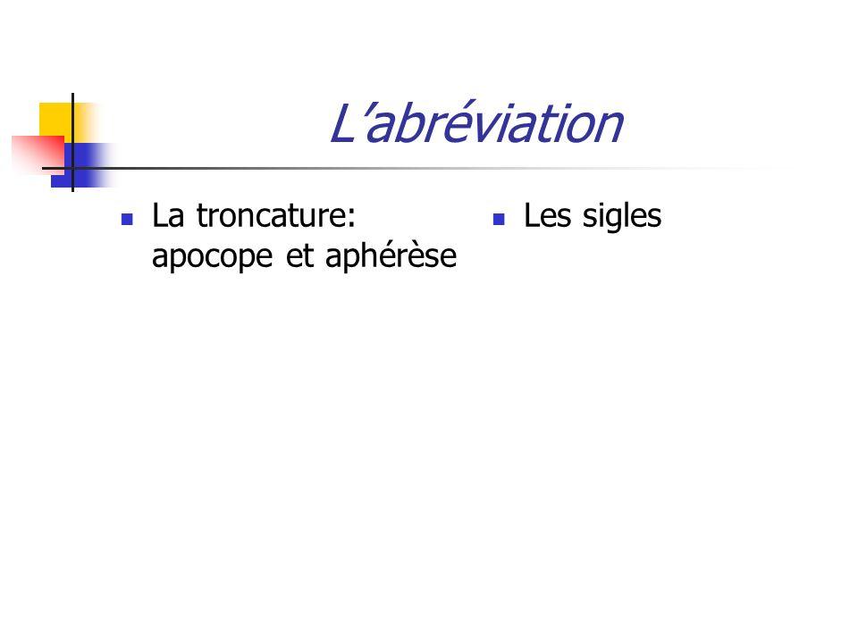 Labréviation La troncature: apocope et aphérèse Les sigles