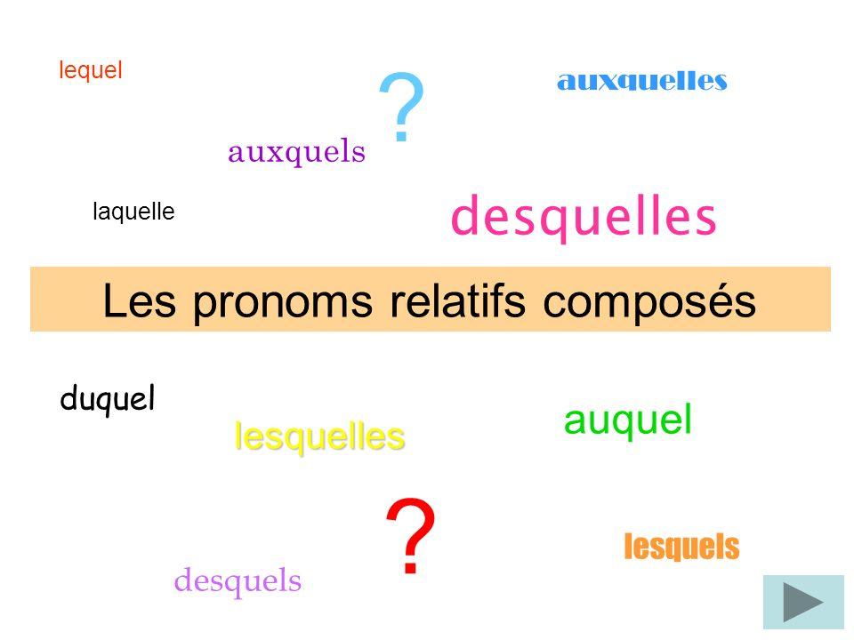 lequel auxquelles laquelle duquel desquels lesquels auquel desquelles Les pronoms relatifs composés lesquelles .