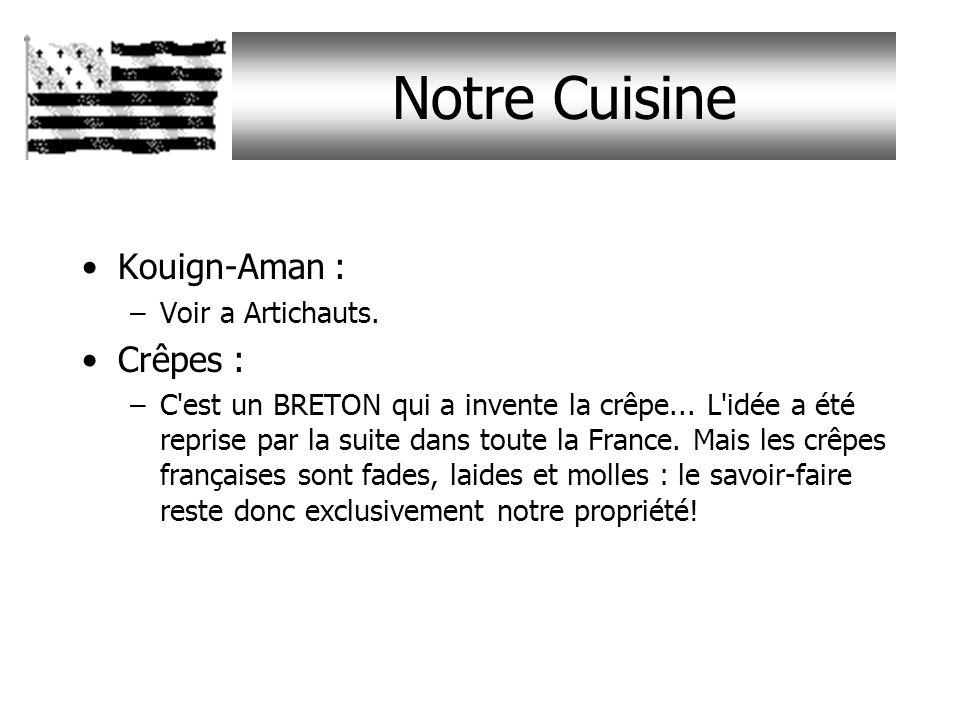 Notre Cuisine Kouign-Aman : –Voir a Artichauts.Crêpes : –C est un BRETON qui a invente la crêpe...