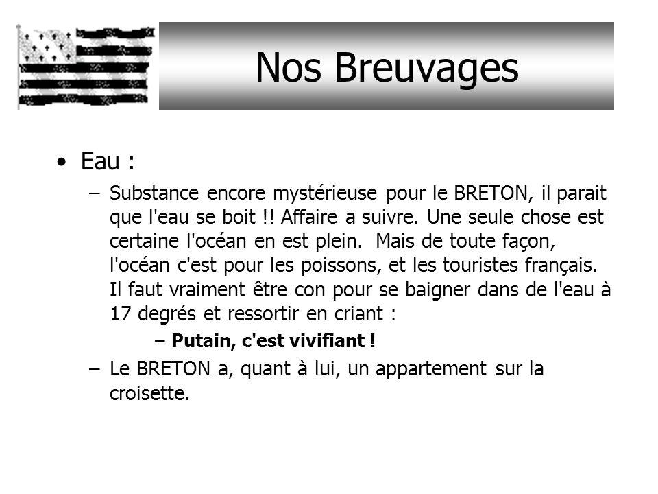 Nos Breuvages Cidre : –Boisson issue de la fermentation de la pomme, donc très faiblement alcoolisée : donc peu populaire en BRETAGNE. La méthode de f
