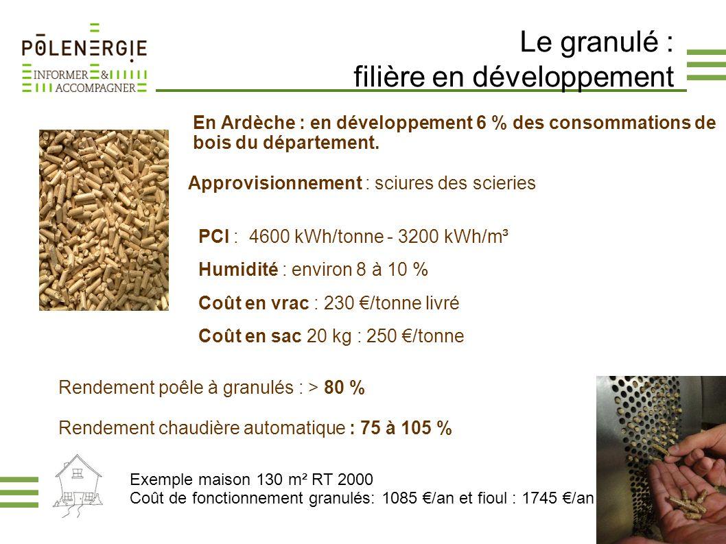 Le granulé : filière en développement Approvisionnement : sciures des scieries PCI : 4600 kWh/tonne - 3200 kWh/m³ Humidité : environ 8 à 10 % Coût en