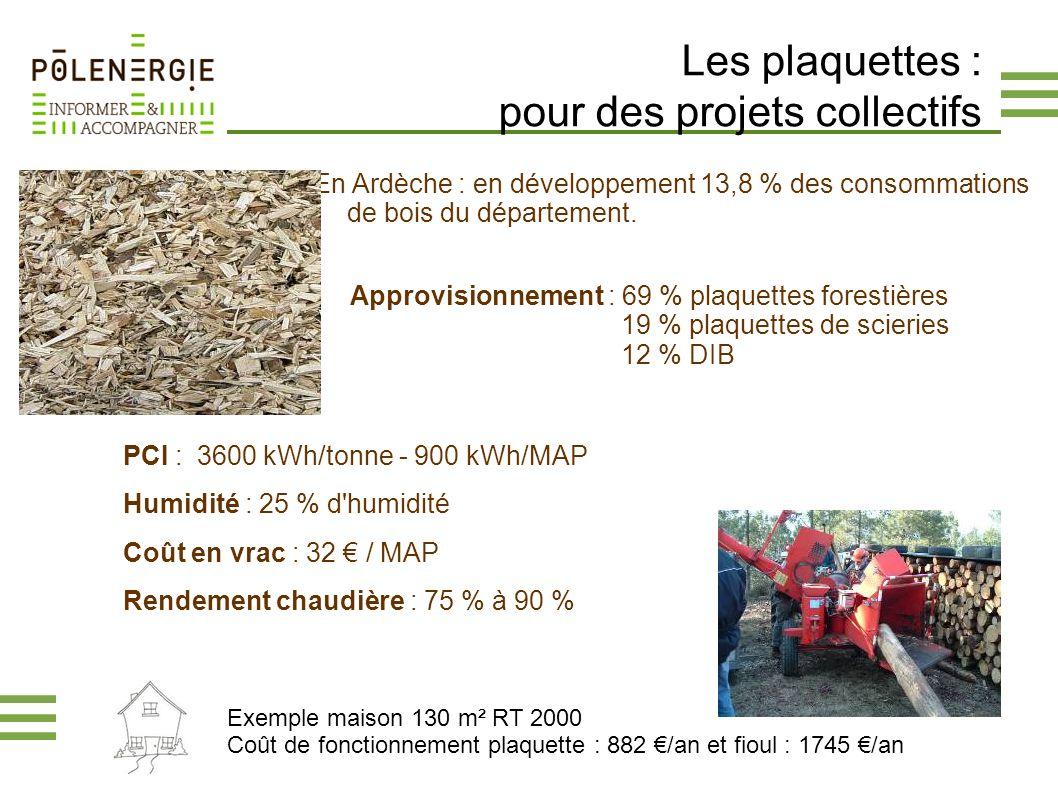 Les plaquettes : pour des projets collectifs En Ardèche : en développement 13,8 % des consommations de bois du département. PCI : 3600 kWh/tonne - 900
