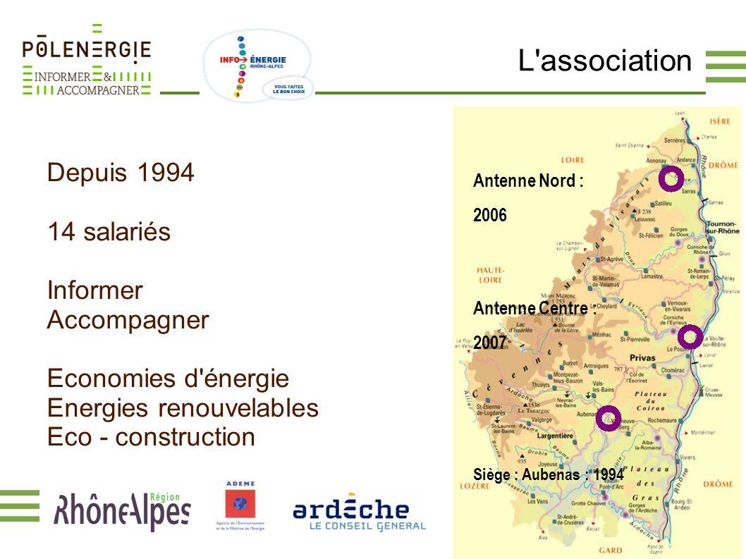 L'association Antenne Centre : 2007 Antenne Nord : 2006 Siège : Aubenas : 1994 Depuis 1994 14 salariés Informer Accompagner Economies d'énergie Energi