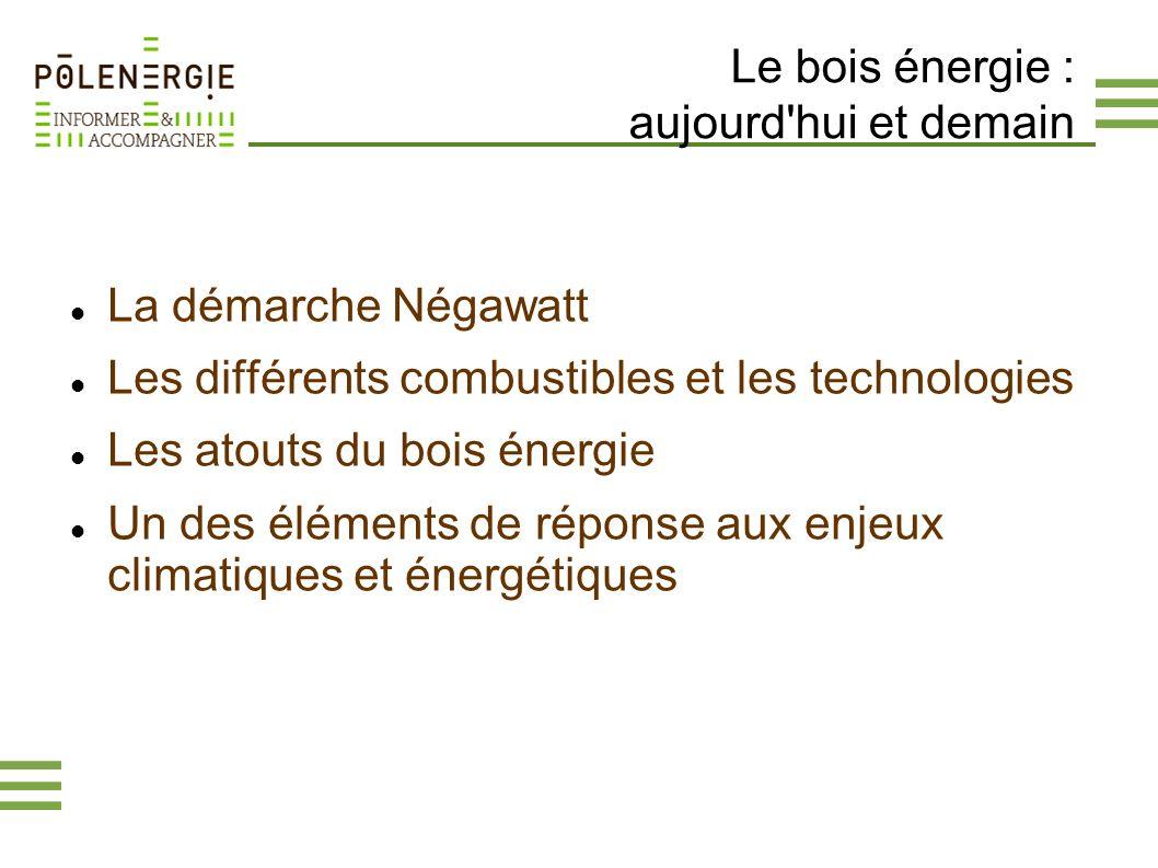 Le bois énergie : aujourd'hui et demain La démarche Négawatt Les différents combustibles et les technologies Les atouts du bois énergie Un des élément