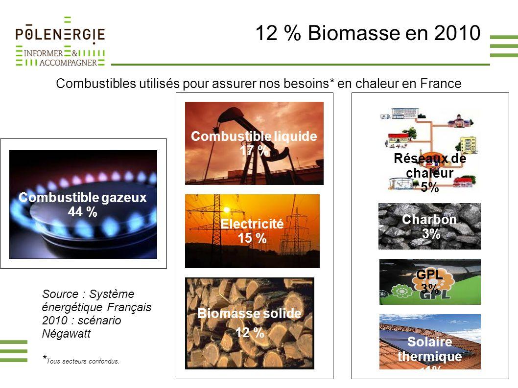 12 % Biomasse en 2010 Combustibles utilisés pour assurer nos besoins* en chaleur en France Combustible gazeux 44 % Biomasse solide 12 % Combustible li