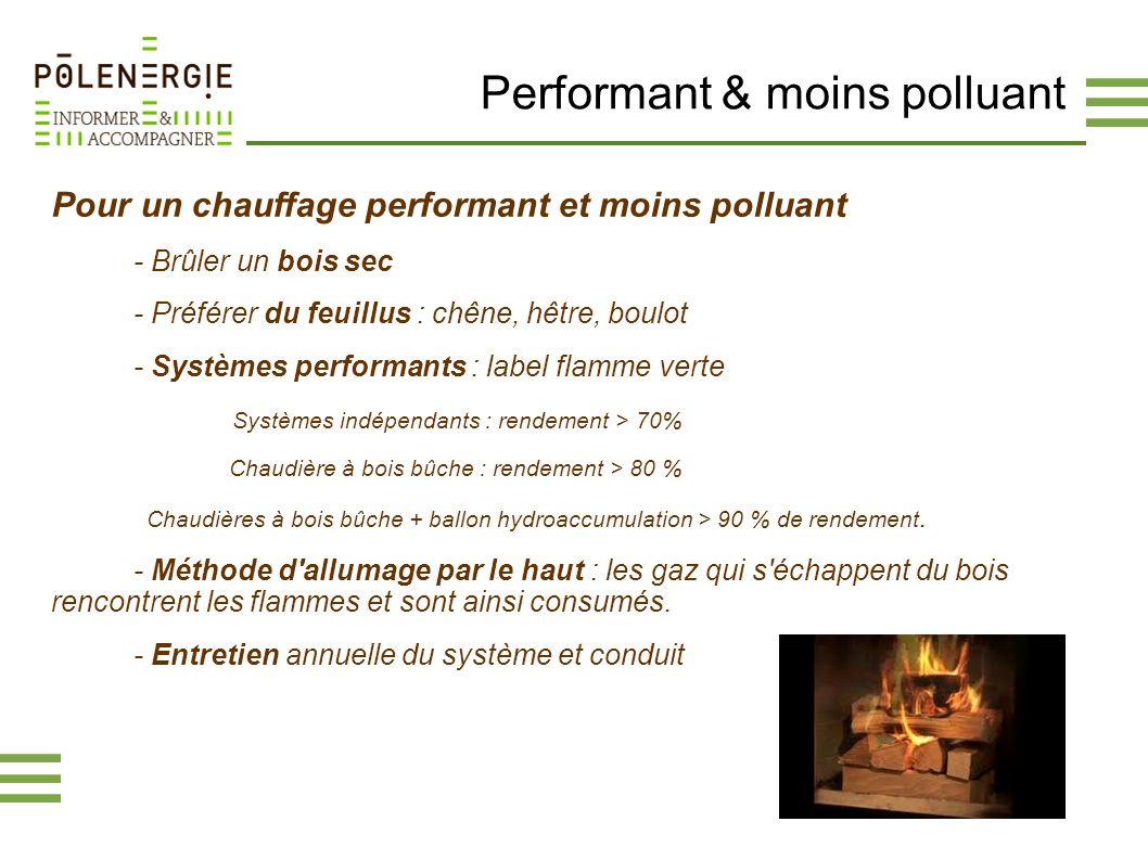 Performant & moins polluant Pour un chauffage performant et moins polluant - Brûler un bois sec - Préférer du feuillus : chêne, hêtre, boulot - Systèm