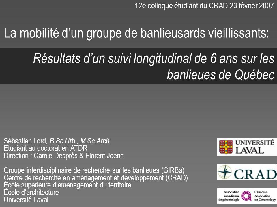 12e colloque étudiant du CRAD 23 février 2007 Sébastien Lord, B.Sc.Urb., M.Sc.Arch. Étudiant au doctorat en ATDR Direction : Carole Després & Florent
