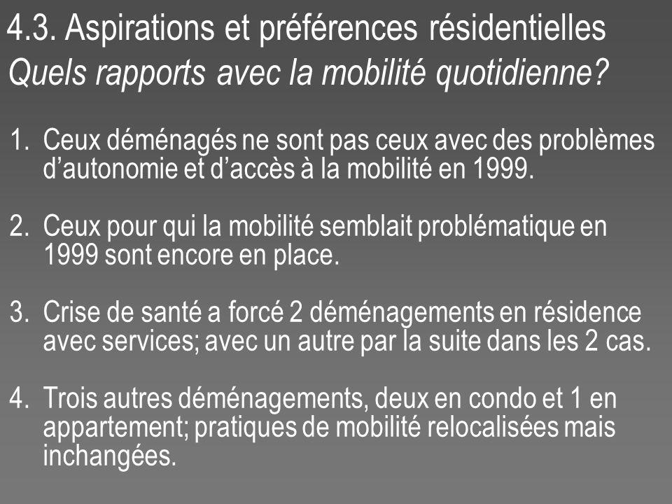 4.3. Aspirations et préférences résidentielles Quels rapports avec la mobilité quotidienne? 1.Ceux déménagés ne sont pas ceux avec des problèmes dauto