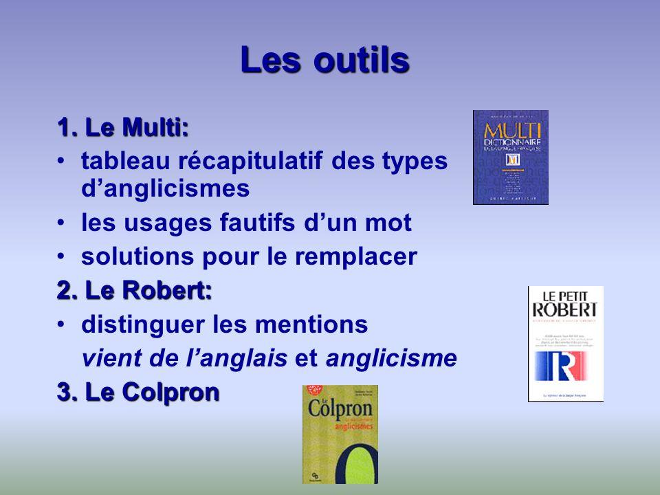 Les outils 1. Le Multi: tableau récapitulatif des types danglicismes les usages fautifs dun mot solutions pour le remplacer 2. Le Robert: distinguer l