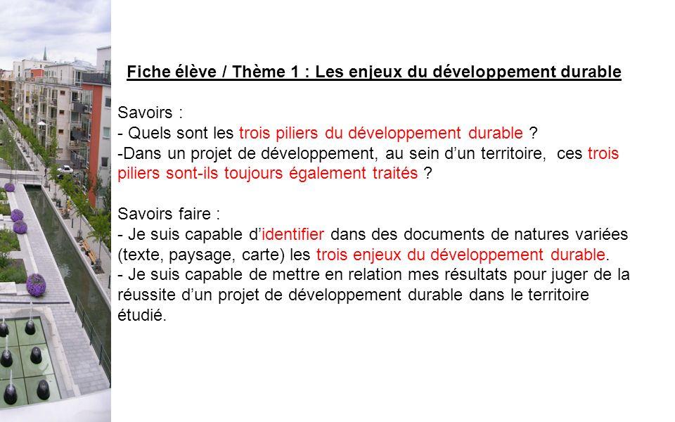 Fiche élève / Thème 1 : Les enjeux du développement durable Savoirs : - Quels sont les trois piliers du développement durable ? -Dans un projet de dév