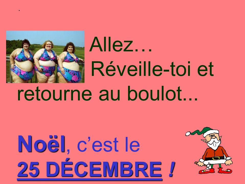 Noël Allez… Réveille-toi et retourne au boulot... Noël, cest le 25 DÉCEMBRE !.