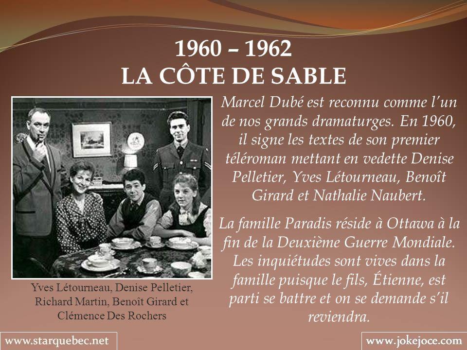 1960 – 1962 LA CÔTE DE SABLE Yves Létourneau, Denise Pelletier, Richard Martin, Benoît Girard et Clémence Des Rochers Marcel Dubé est reconnu comme lun de nos grands dramaturges.