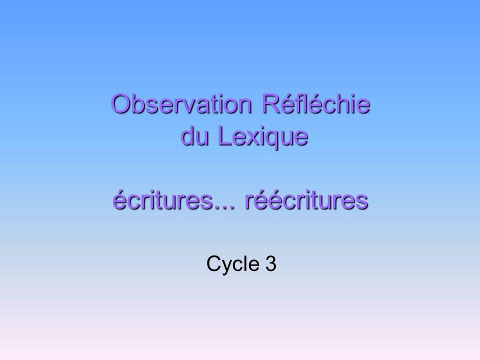 Observation Réfléchie du Lexique écritures... réécritures Cycle 3