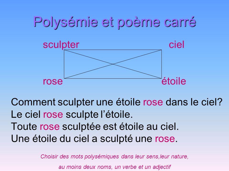 Polysémie et poème carré Comment sculpter une étoile rose dans le ciel? Le ciel rose sculpte létoile. Toute rose sculptée est étoile au ciel. Une étoi