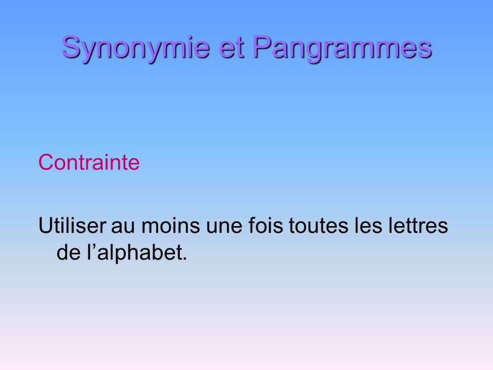 Synonymie et Pangrammes Contrainte Utiliser au moins une fois toutes les lettres de lalphabet.